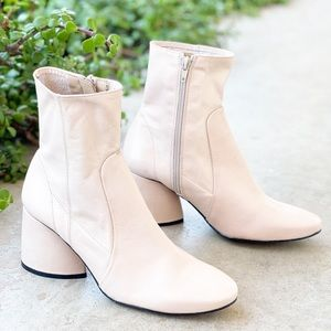 Intentionally Blank Luck Cream Leather Booties